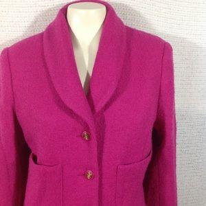 Bloomingdales Blazer Fuschia Pink 10 Wool
